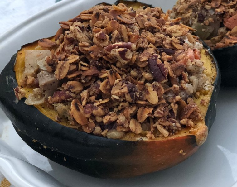 Stuffed Acorn Squash with Barley, Chicken Sausage, Apple & Goat Cheese