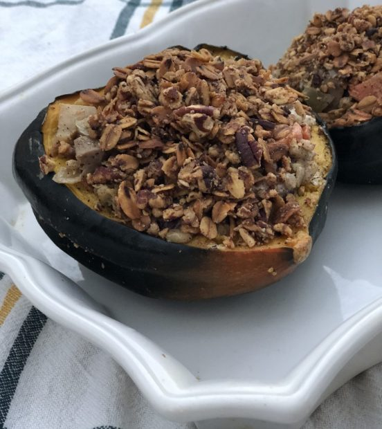 Baked Stuffed Acorn Squash with barley, Chicken Sausage, Apple & Goat Cheese