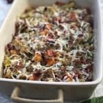 sausage & cranberry cauliflower stuffing casserole