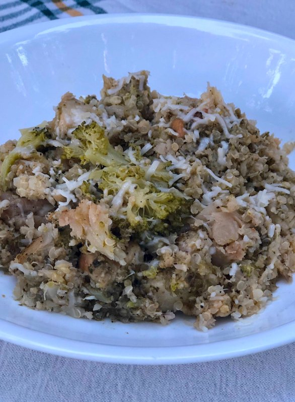 cheesy pesto cauliflower rice casserole with chicken and broccoli