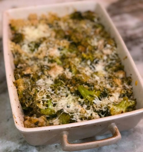cheesy pesto cauliflower rice casserole with chicken and broccoli