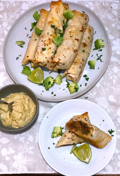 Healthy & Crispy Baked Vegetarian Taquitos with cauliflower & lentil taco meat substitute