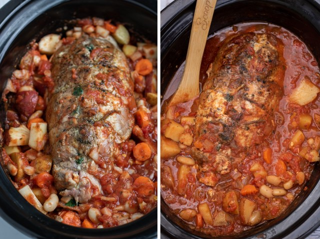 A side by side picture of pork loin roast before being cooked in the crock pot and after it's cooked.  The pork is covered in a tomato sauce with cannellini beans, diced potatoes and carrots