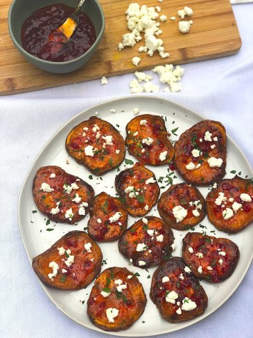 Sweet Potato and Goat Cheese Appetizer bites are baked in the oven for a healthy and easy festive holiday appetizer-perfect for Christmas or Thanksgiving!