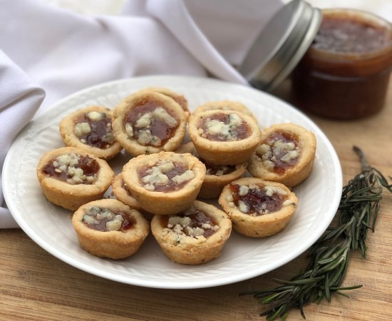 Savory Mini Tart Appetizers with Rosemary Shortbread & Date Jam