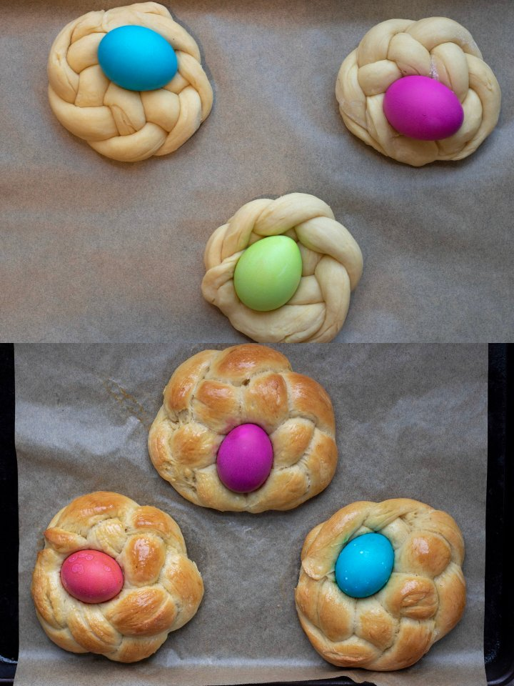 Braided Easter bread with colored Easter eggs in the middle. It's a before and after of the bread being baked.
