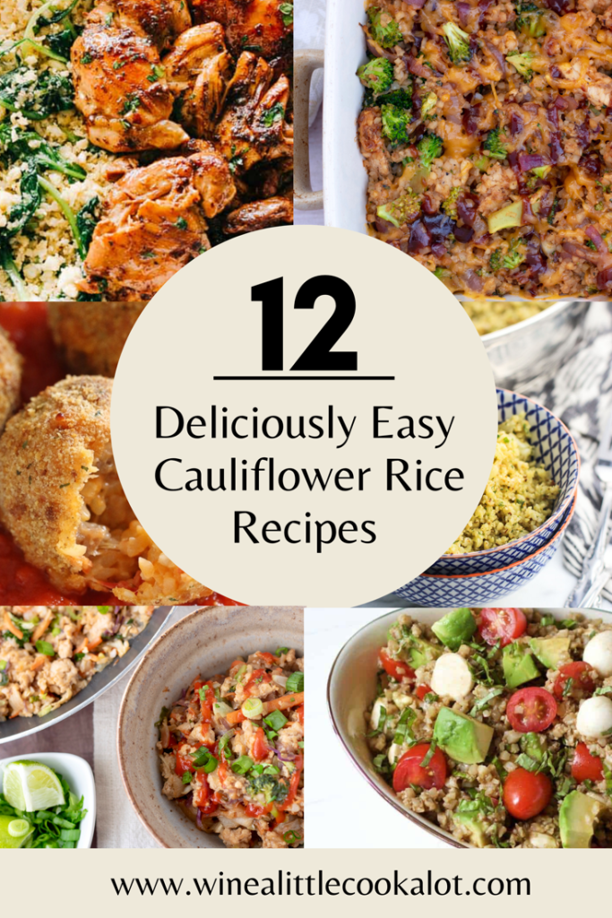 A list of 12 delicious cauliflower rice recipes that are low carb, tasty and easy to make! Everything from cheesy casseroles to stir fry bowls to healthy meal prep bowls. Cauliflower rice recipes for the family, or for a healthy lunch.