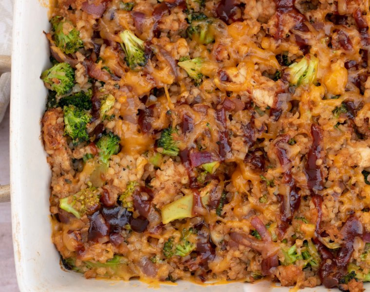 BBQ Chicken & Broccoli Cauliflower Rice Casserole