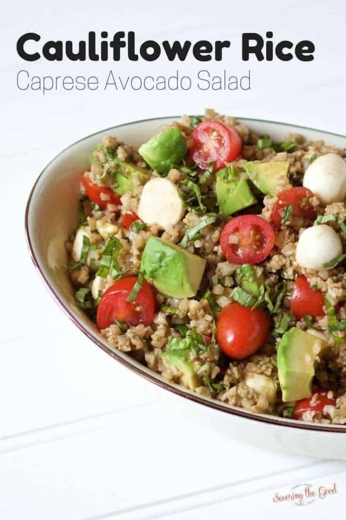 Simple cauliflower rice caprese avocado salad is easy, tasty and low carb