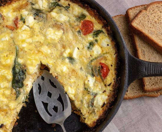 Spinach, Goat Cheese & Tomato Quiche with Sweet Potato Crust