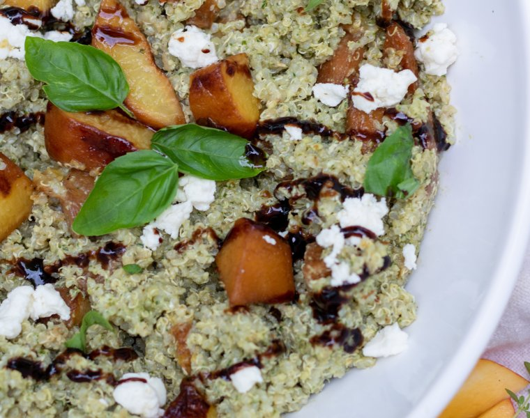 Pesto Quinoa with Balsamic Grilled Peaches