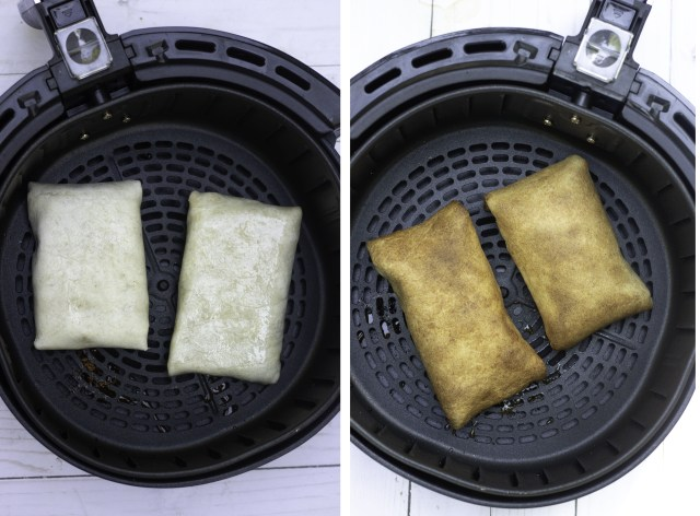 Side by side pictures of two chimichangas that are placed in the air fryer basket. The picture on the left is before cooking and the picture on the right is after the chimichangas have been air fried. They're brown, golden and crispy.