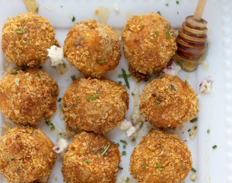 Air Fryer Goat Cheese & Sweet Potato Bites