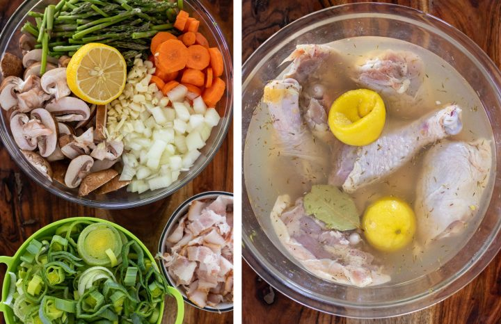 Two side by side pictures, the first one has a bowl of ingredients for coq au vin like leeks and bacon, the secon is a large glass bowl of marinating chicken with lemon and herbs