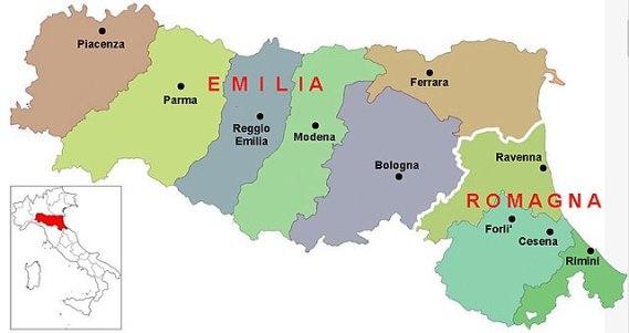 The Emilia Romagna region of northern Italy