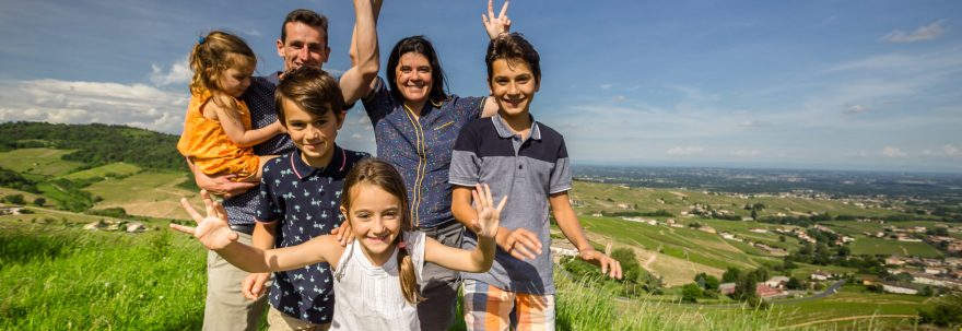 Aucoeur family above vineyards