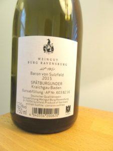 Weingut Burg Ravensburg, Baron Von Sulzfeld, Spätburgunder 2015, Kraichgau Baden, Germany, Wine Casual