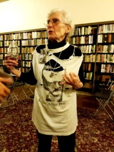 Wine Casual, Institute Library staff member clad in Edgar Alan Poe t-shirt.