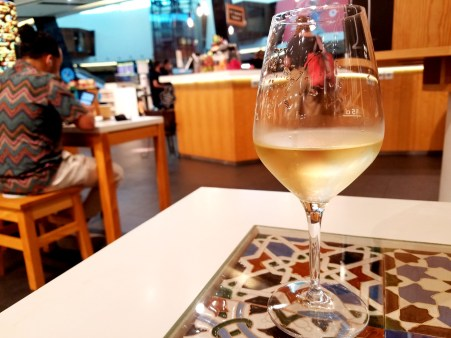 One last glass of Portuguese white wine I enjoyed at Portfolio Wine Bar and Gift Shop at the Lisbon airport during the pandemic.