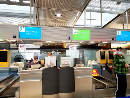 Check-in at COVID-19 testing center at the Frankfurt airport.