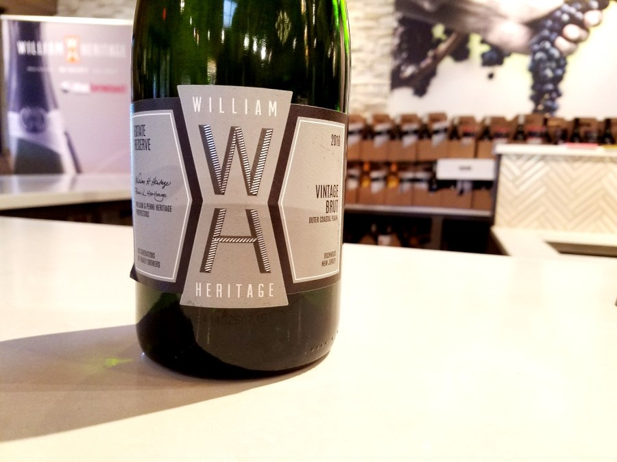 William Heritage Winery, Estate Reserve Vintage Brut 2016, Outer Coastal Plain, New Jersey, Wine Casual