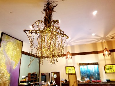 ape May Winery & Vineyard's owner, Toby Craig is an avid recycler and tinkerer responsible for this grapevine-root chandelier.  Wine Casual