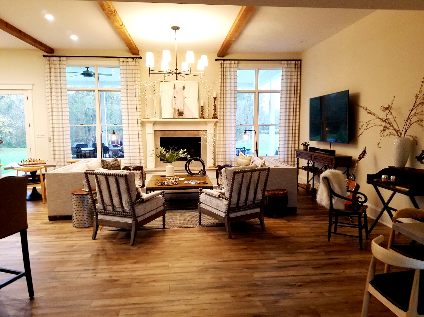 Photo Credit: Wine Casual, White Horse Winery Farmhouse living room. Wine Casual