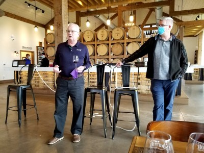 Sharrott Winery owner, Lawrence (Larry) Sharrott, describes the winery's commitment to sustainability as evidenced by vineyard solar panels that generate 30% of the power at the winery. Wine Casual