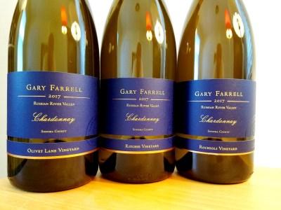Three single-vineyard 2017 chardonnays from Gary Farrell Vineyard & Winery's Olivet Lane, Ritchie and Rochioli vineyards. Wine Casual