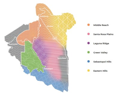 """Six subregions or """"neighborhoods"""" within the Russian River Valley AVA.  Wine Casual"""