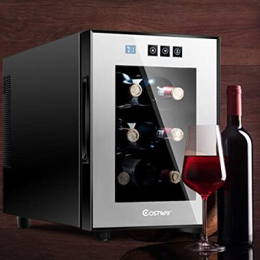 Costway Thermoelectric Wine Cooler Freestanding Cellar Chiller Refrigerator Quiet Compact w-Touch Control 6 Bottle
