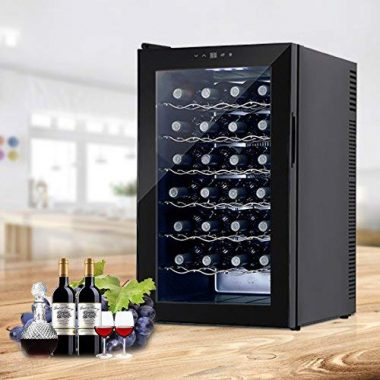 16 Bottle KUPPET Wine Cooler Freestanding Thermoelectric Wine Refrigerator Cabinet Red and White Wine Cellar,Black
