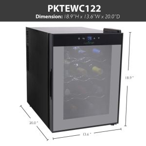 NutriChef PKTEWC122 12 Bottle Thermoelectric Red And White Wine Cooler-Chiller, Counter Top Wine Cellar with Digital Control, Freestanding Refrigerator, Smoked Glass Door, Quiet Operation Fridge dimen
