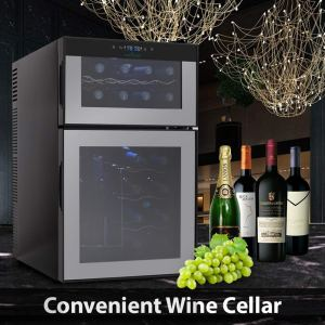 NutriChef PKTEWC24 24 Bottle Dual Zone Thermoelectric Wine Cooler - Red and White Wine Chiller - Countertop Wine Cellar - Freestanding Refrigerator with LCD Display Digital Touch Controls ad