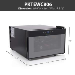 NutriChef PKTEWC806 8 Bottle Thermoelectric Red And White Wine Cooler-Chiller dims