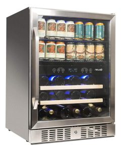 NewAir AWB-400DB Dual Zone Beverage Cooler Built-In Stainless Steel Refrigerator for Soda Beer or Wine Holds 22 Bottles and 70 Cans