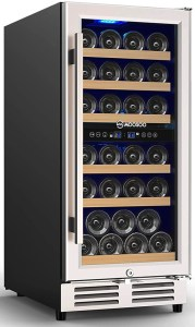 "MOOSOO 15"" Dual Zone 30 Bottle Wine Cooler"
