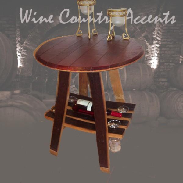 150 Barrel Bistro Table W Wine Amp Glass Rack Wine Barrel