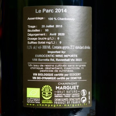 Champagne Benoît Marguet Amobonnay 'Le Parc' Blanc de Blance Grand Cru JEROBOAM 3L 2014 Back by Paul Kaan for Wine Decoded