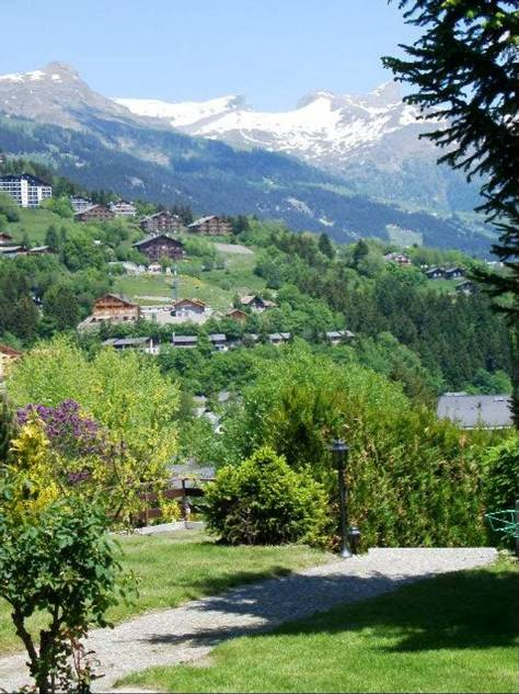 Summer view of the ski domaine from Chalet Petite Tara in Bluche, Valais, CH