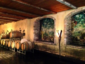 Barrel room at Deltetto in Canale, Italy