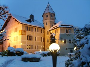 Unusually heavy Easter snow blankets the 16th Century Chateau de Villa.