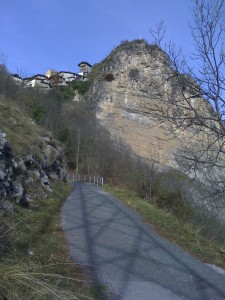 Precarious, single lane road leading from the floor of the Valle Grana to Colletto and the alpeggi above.