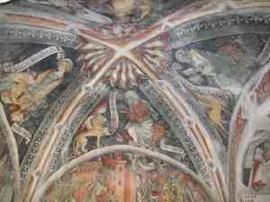 Renaissance fresco of Piero da Saluzzo at the chapel of S. Sebastiano in the Valle Grana.