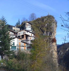The cliff-dwelling village of Colletto. Last paved road on trip to Rifugio Valliera.