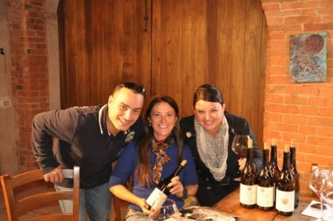 Chiara Boschis with Giuseppe and Alisha Bosco of Vail Valley's Ristorante Zino enjoying Chiara's wines in her tasting room.