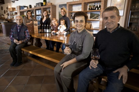 Luciana and Giulio Grasso with four generations of Grassos in the Ca' del Baio tasting room.