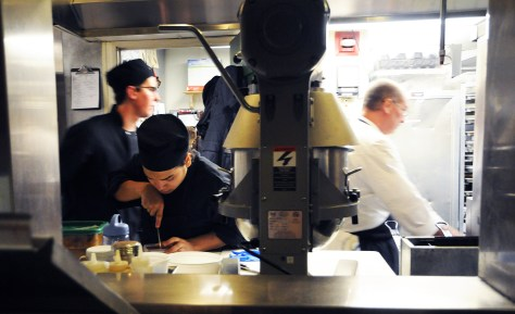 Preparation is key to success. Busy time at Toscanini as prep ends and service nears.  Photo by Kristin Anderson