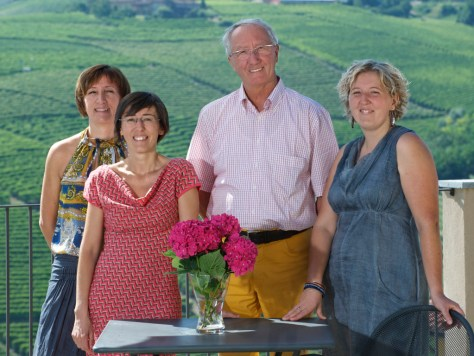 The Rocca sisters - Daniela, Monica and Paola - with their late father and Barbaresco visionary Angelo Rocca.