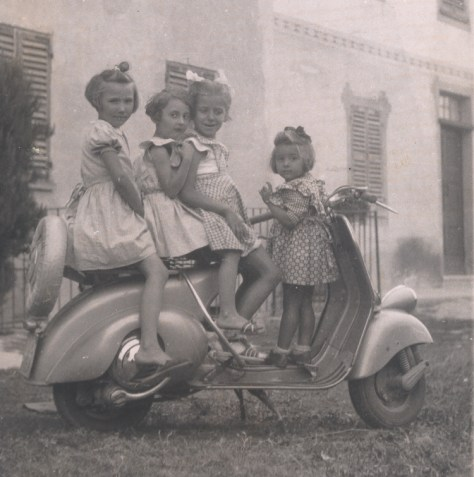 Mariuccia Borio (left) with four of her cousins at Cascina Castlet.